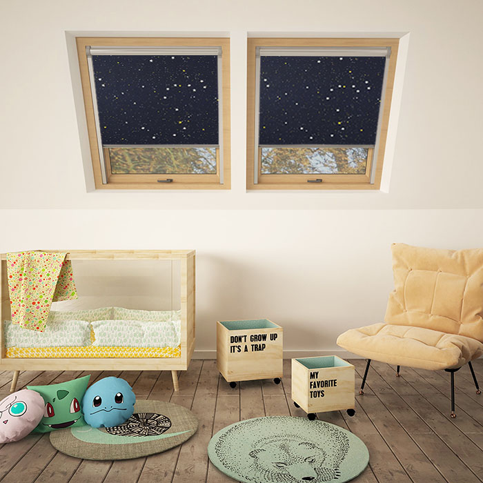 A pair of night skylight blinds in a childrens bedroom