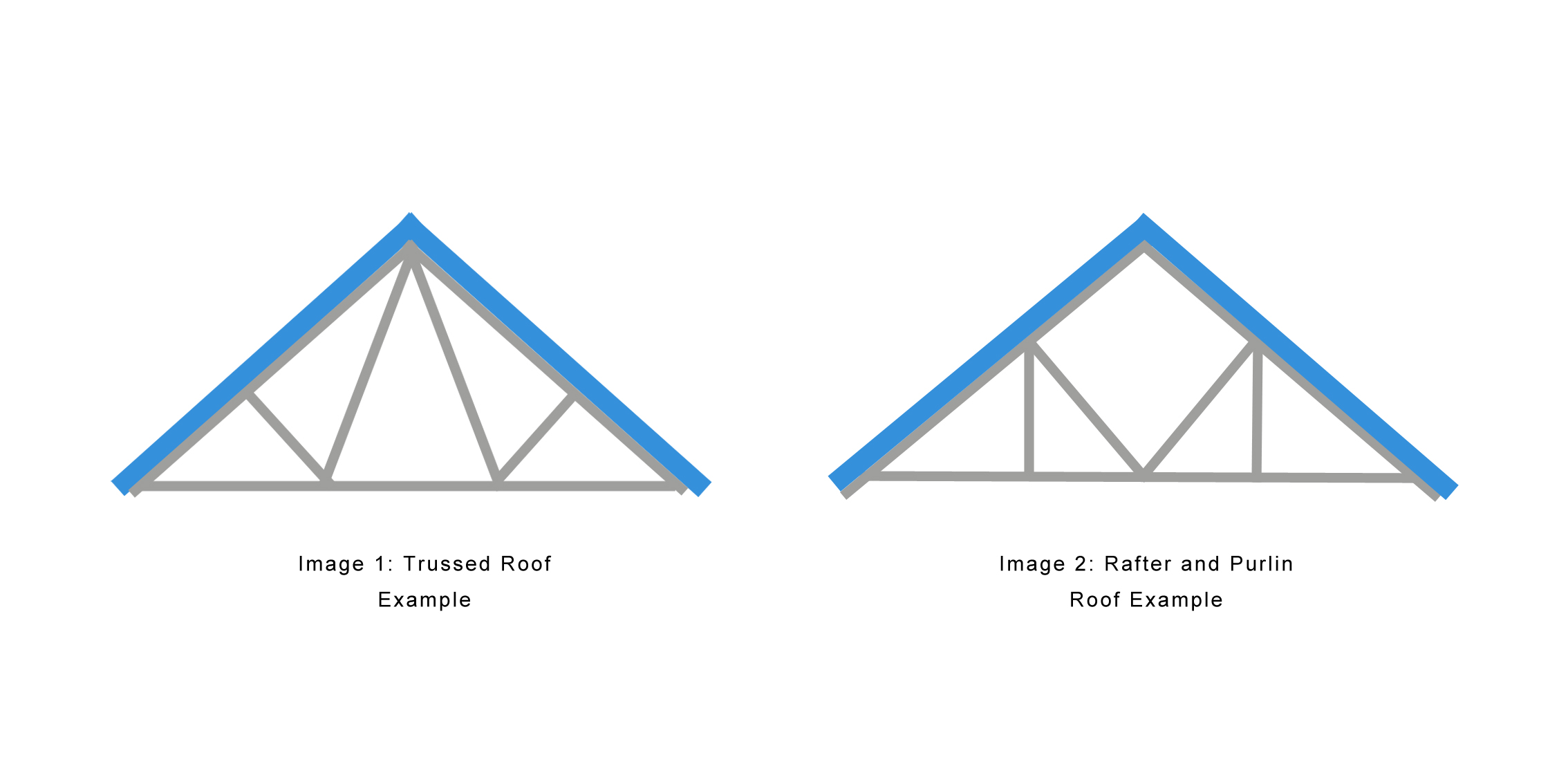 Image showing a trussed roof and purlin roof example