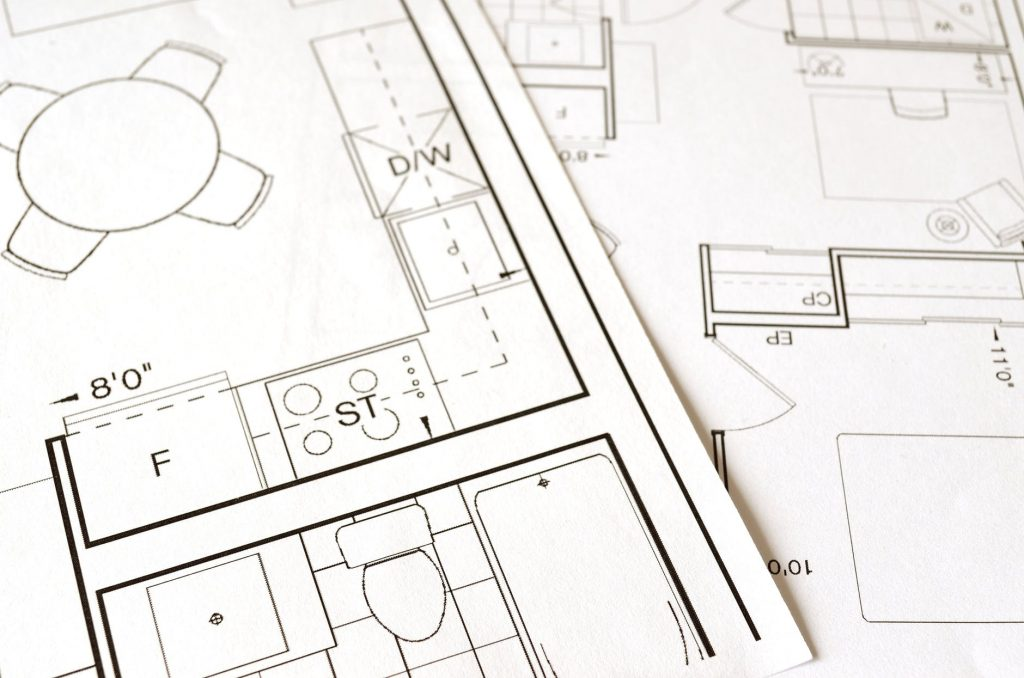 An image showing architect drawings for a building conversion