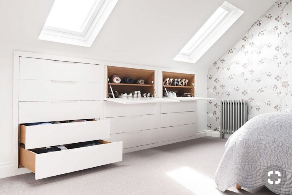 An image showing inbuilt storage in a new loft conversion layout