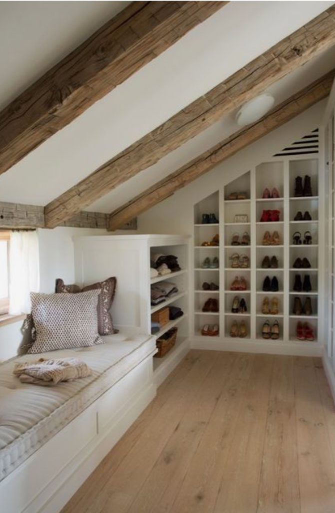An image showing a rustic loft conversion layout with ample shoe storage space