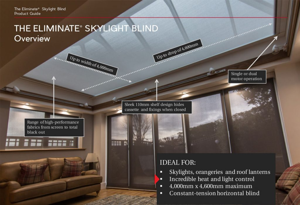 A descriptive image of the Eliminate Skylight Blind Product Guide