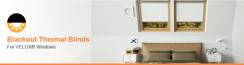 An image showing blackout thermal VELUX™ compatible blinds