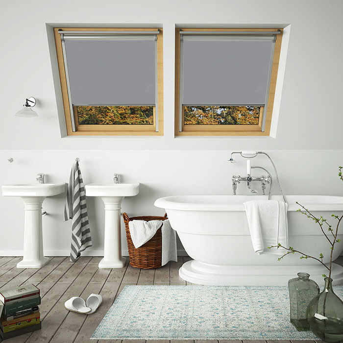 An image of grey showerproof 100% waterproof skylight VELUX compatible blinds in a bathroom