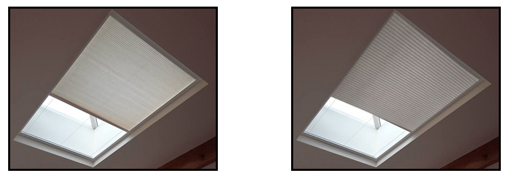 An image showing a comparison between blackout and translucent material for LanternLITE Honeycomb overhead blind