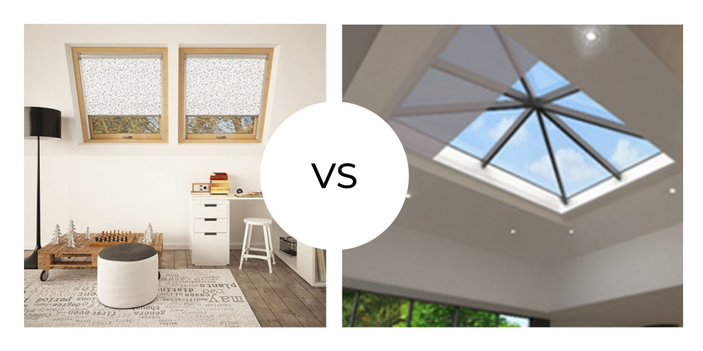 An image showing the difference between skylight blinds and roof lantern blinds