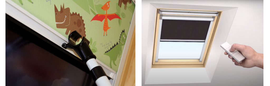 Manual skylight blinds and electric skylight blinds