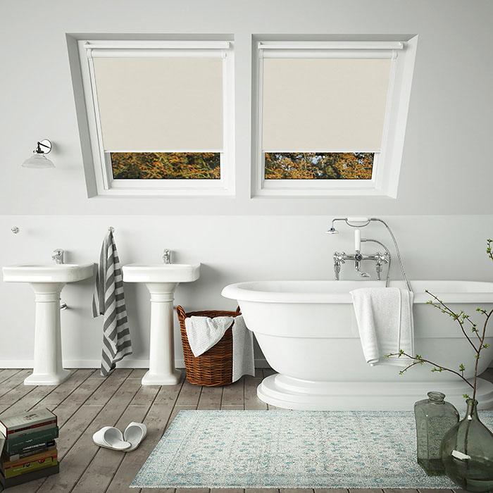 Shower Proof Beige Blinds For White Frame Velux Skylight Windows